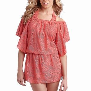 Jessica Simpson Pink Coachella Crochet Cover Up